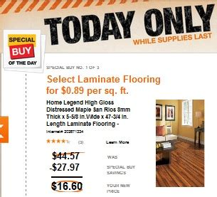 home depot daily deal select laminate flooring only 0 89