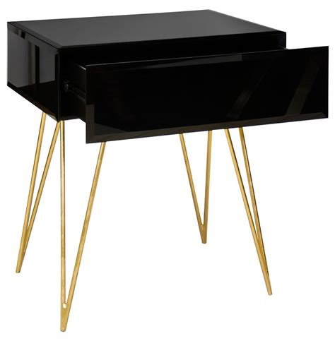 Black Side Table Biscayne Regency Black Glass Nightstand Side Table Kathy Kuo Home