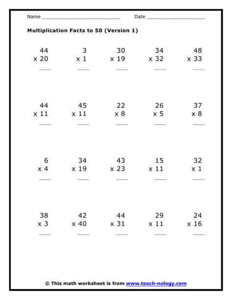Simple Multiplication Worksheets by Multiplication Facts To 50