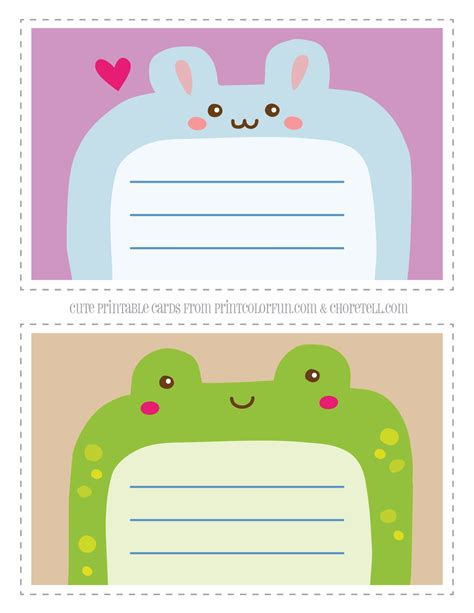 printable for kids cute printable animal notecards for kids rabbit frog