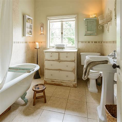 shabby chic bathroom ideas neutral shabby chic bathroom with chest of drawers