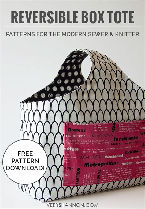 sewing pattern reversible tote bag sewing free reversible box tote pattern very shannon