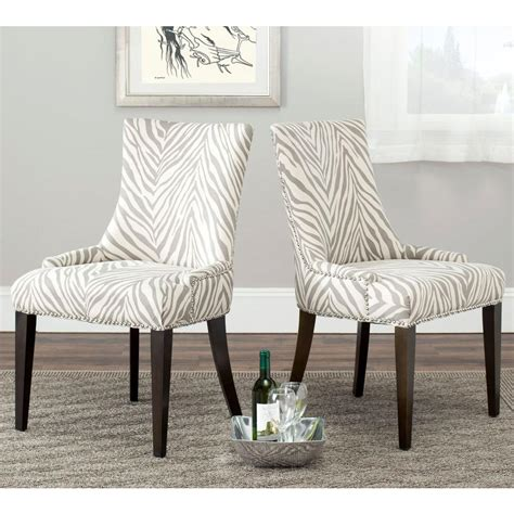 Zebra Dining Chairs Safavieh Becca Grey Zebra Cotton Linen Dining Chair Mcr4502n The Home Depot