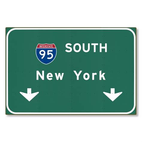 new haggetts highway sign haggetts aluminum i 95 interstate nyc city new york ny metal highway freeway