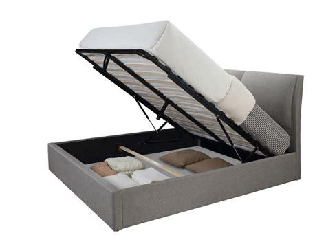 canapé lit avec coffre lit coffre alceo tissu gris clair ou anthracite 160 200cm