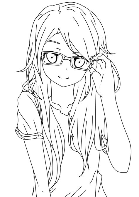 girl with glasses lineart by dibandgazbrothersis on deviantart