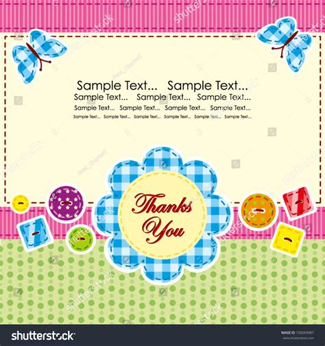 thank you card template baby birthday thank you card vector greeting card stock vector 150569987
