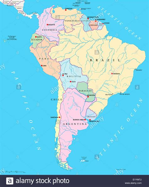 rivers of south america map south america single states map with capitals national