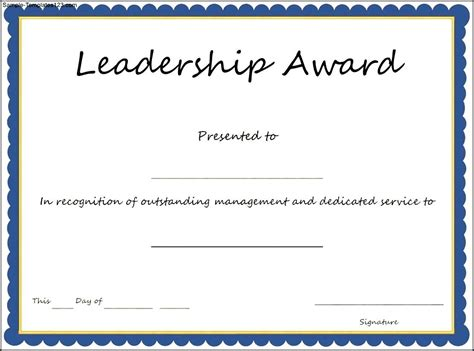Award Certificate Template by Interesting Leadership Award Template With Blue Frame