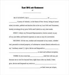 last testament and will template sle last will and testament form 7 documents in word