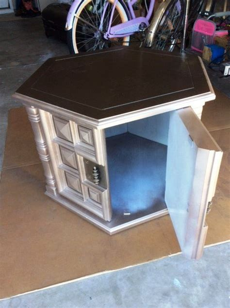 pet bed end table 1960s octagon end table makeover pet bed in process