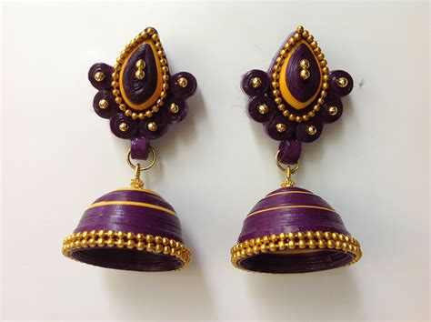 How To Make Quilling Paper Jhumkas - how to make paper earrings jhumkas www pixshark