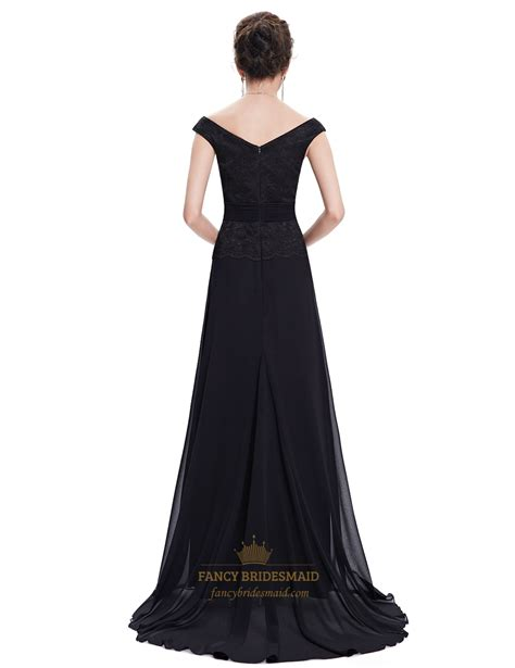 Chiffon Gown Black by Black Chiffon Bridesmaid Dresses With Beaded Lace