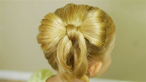 bow in her hair and rear view how to make bow hair back to school hairdo tutorial