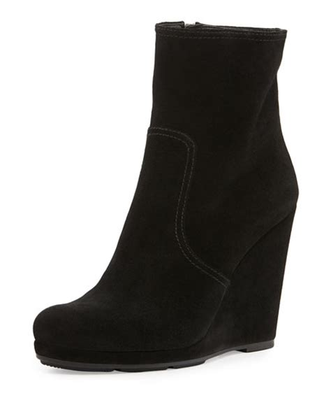 prada suede wedge ankle boot nero
