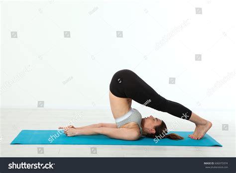 yoga workout tutorial sport fitness yoga woman beautiful middleaged stock photo