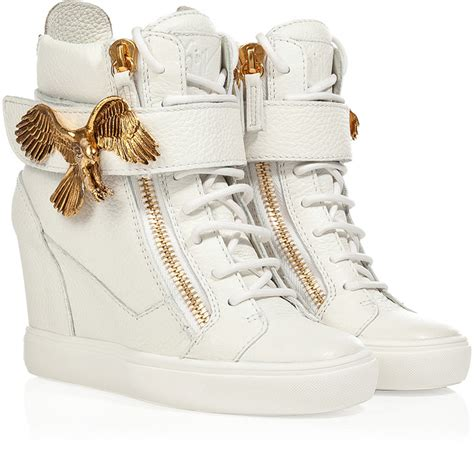 where to buy wedge sneakers giuseppe zanotti wedge sneakers with eagle detail in white