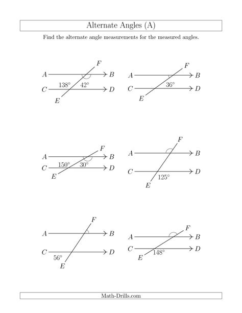 angle math worksheets geometry worksheets for practice alternate angles a