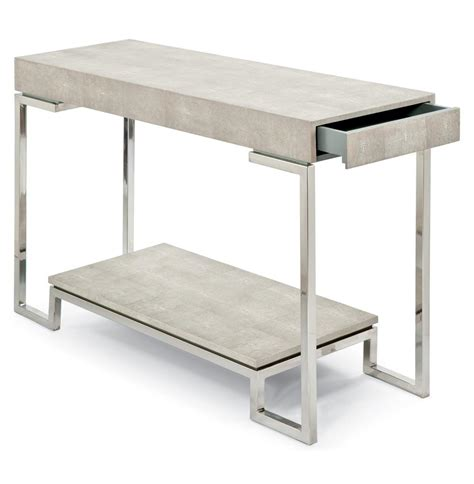 Millicent Coastal Beach Ivory Grey Faux Shagreen Silver Silver Sofa Table