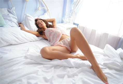 hot girl in bed beautiful girl on bed in silk teddy hot girl photo print