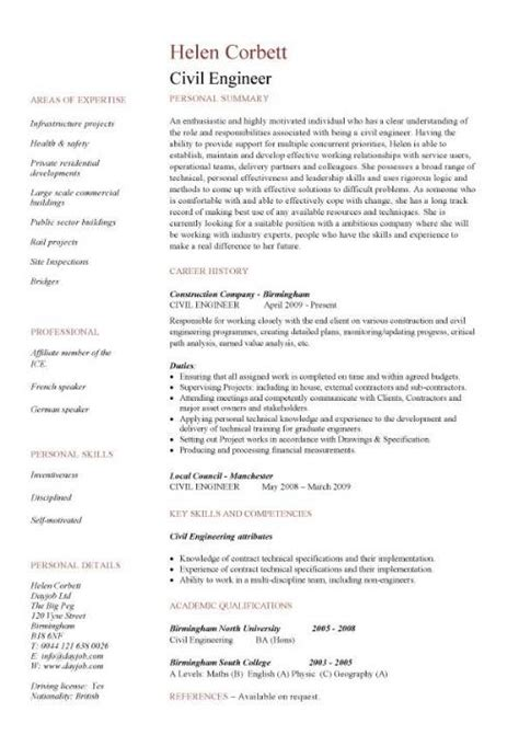 Sample Resume Templates For Freshers Engineers by Civil Engineering Cv Template Structural Engineer