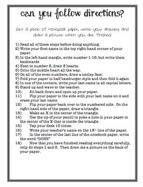 printable written directions following directions do do and wisdom on pinterest