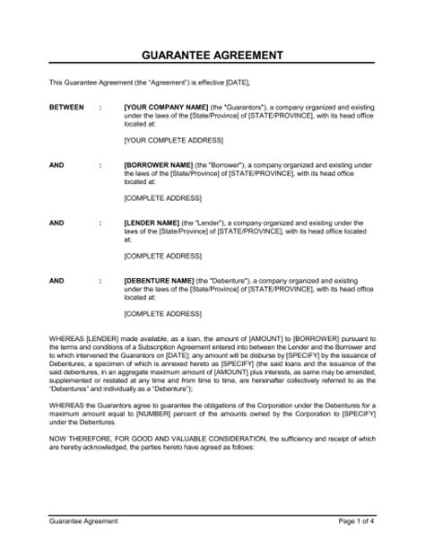 guarantee agreement template sle form biztree