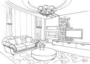 living room coloring living room with ornament coloring page free printable coloring pages