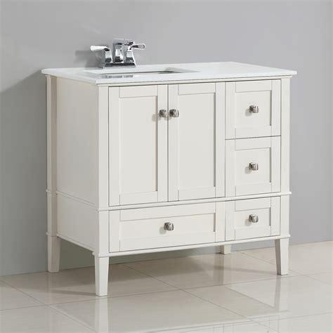 left offset sink vanity simpli home chelsea 36 quot left offset bath vanity with white