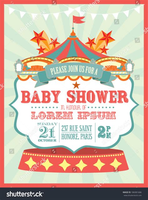 Carnival Baby Shower Invitation Card Template Stock Vector 186981686 Shutterstock Circus Invitation Template