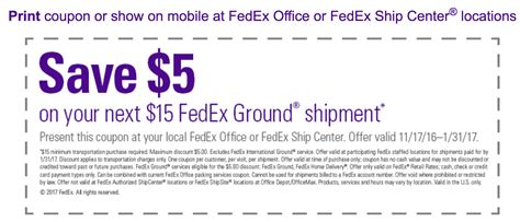 Fedex Printable Coupon get a fedex printable in store coupon for 5 a 15 or