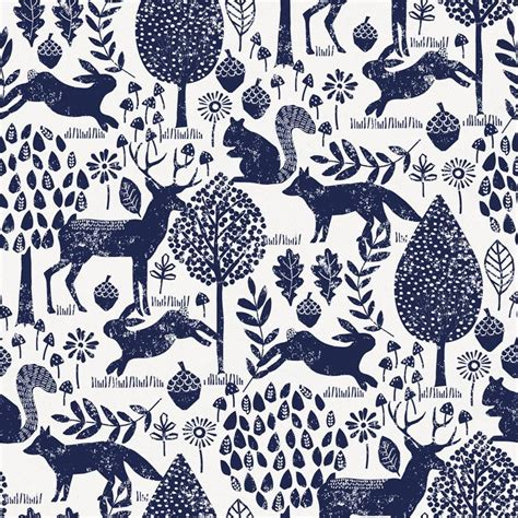 Washable Rugs Navy Woodland Animals Fabric By The Yard Navy Fabric