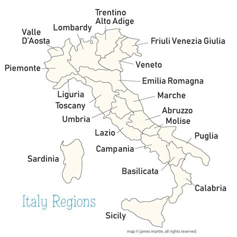 regions on a map italy regions map wandering italy