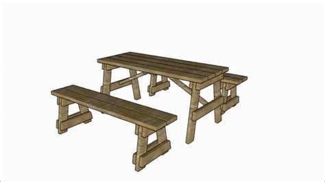 picnic table  separate benches plans youtube