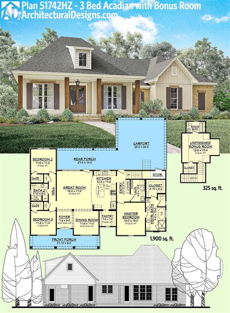 three bedroom house plans with bonus room plan 51742hz 3 bed acadian home plan with bonus over