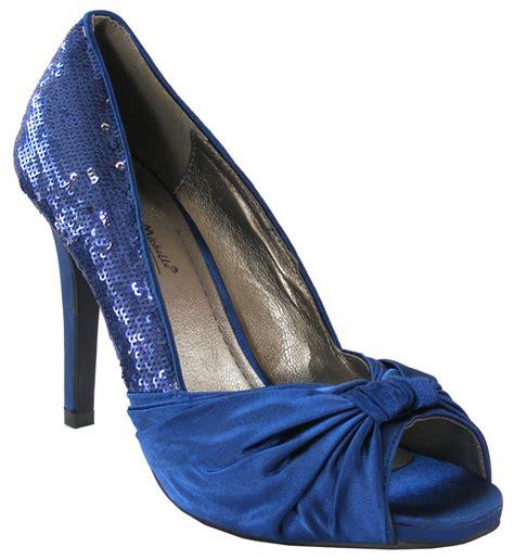 Navy Blue Satin Wedding Shoes by New Womens Navy Royal Blue Satin Sequins Peep Toe Wedding