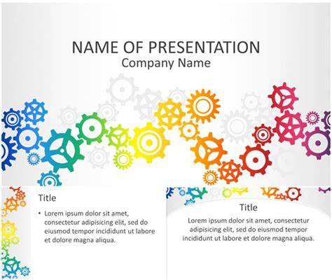 powerpoint themes gears colorful gears powerpoint template templateswise com