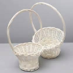 White Wicker Basket With Handle Wicker Basket White Round With Handle Flower Posy Storage