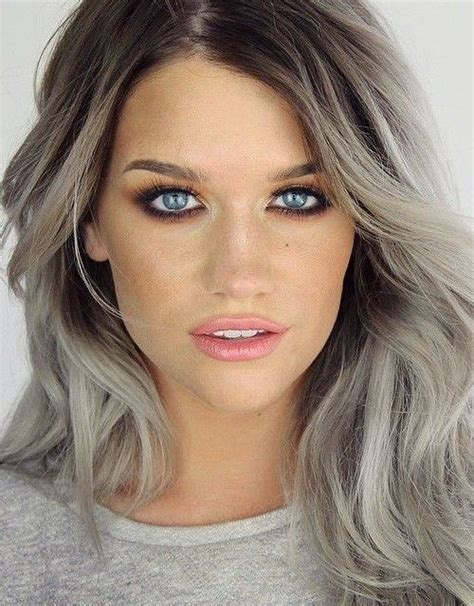 what will i look like with grey hair picture of grey hair with dark roots look contrasting