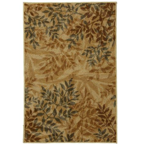 mohawk area rugs home depot mohawk home waterloo leaves beige 5 ft x 8 ft area rug 330941 the home depot