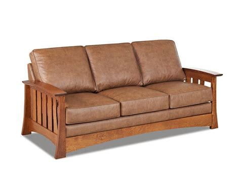 Mission Style Leather Sleeper Sofa American Made Cl7016dqsl
