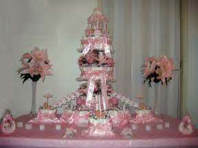 pink and white diaper cake front view pdc