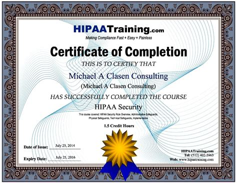 hipaa certificate template hipaa certificate template gallery certificate