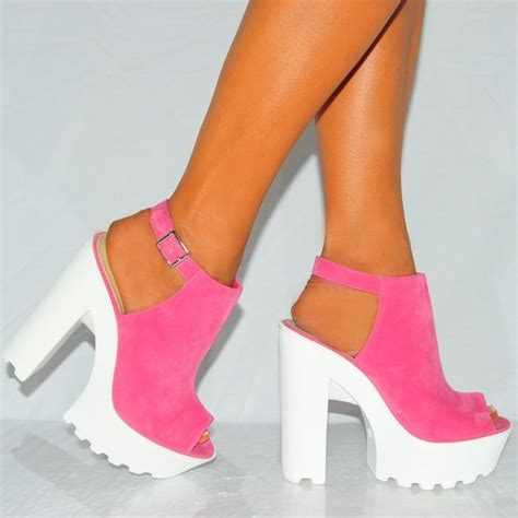 pink and white high heels pink faux suede white platform peep toe