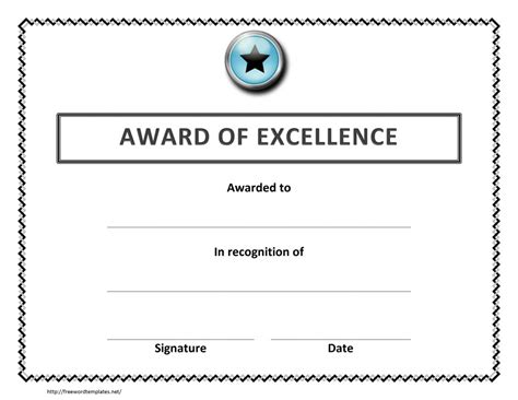 Award Of Excellence Certificate Template Microsoft Word Certificate Templates