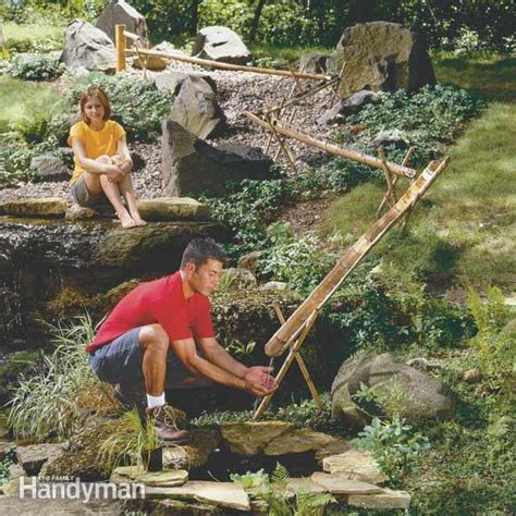 build  bamboo water feature  family handyman