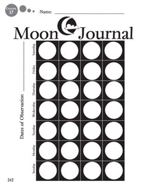 printable moon journal 17 best images about phase worksheet in the corner