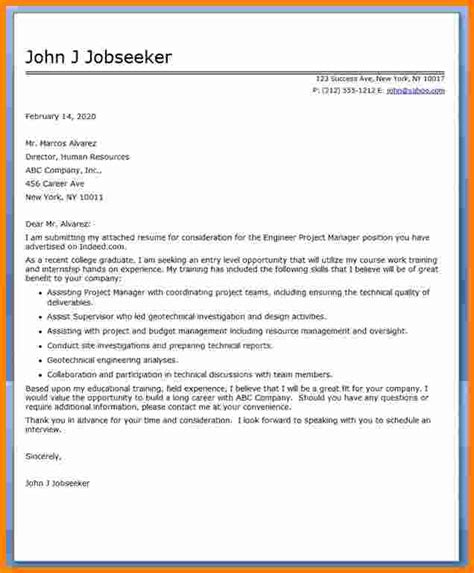 resume cover letter sle project manager cover letter