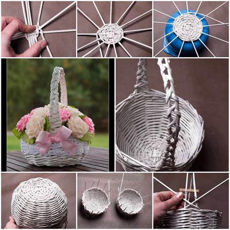 Pinterest Garden Craft Ideas - diy newspaper tubes weaving basket