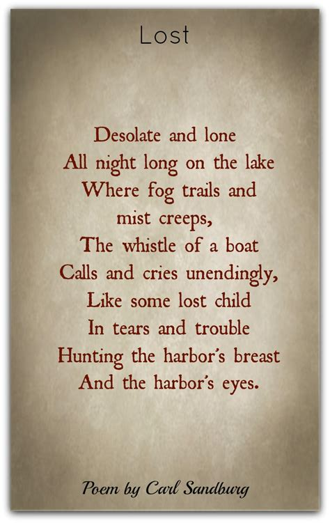 carl sandburg poems classic famous poetry